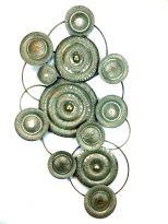 Cirkels Metaal - Wanddecoratie - Oud Goud - 125 x 67 cm