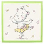 Kinderposter - Ballarina Nijlpaard - 20x20 cm - Met 3D Houten Fotolijst
