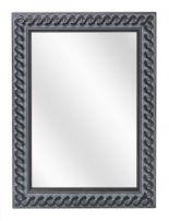Spiegel met Gevlochten Houten Lijst - Oud Zwart - 73 x 103 cm - Lijstbreedte: 30 mm